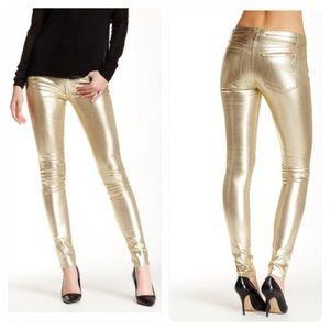 Joe's Jeans Metallic Gold Midrise Skinny Jeans 27